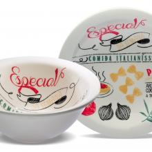 Kitchen furniture Porcelain Pasta Set, Includes 4 Plates and 1 Large Serving Bowl