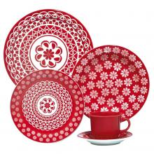 Kitchen furniture 20 Piece Red Lace Collection Daily Dinnerware Set