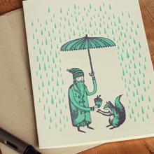 "Holstee-  Greeting Card Andrew Frazer- ""Live Generously"" Rain, Umbrella, Squirrel + envelope"