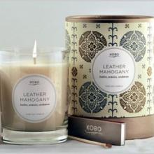 Gift furniture Kobo Soy Candles- Leather Mahogony
