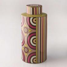 Living Room furniture Piling Palang- Retro Expo- Round Tea Caddy with Stripes and Circles
