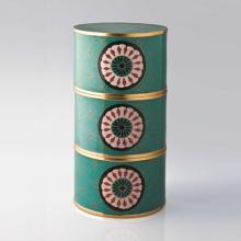 Living Room furniture Piling Palang- Tiffins Box- Round Tiffin box with daisies Turquoise