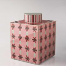 Living Room furniture Piling Palang- Retro Expo Square Tea Caddy with Geometric Pattern Pink Peony